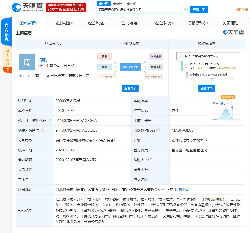 阿里巴巴(中国)有限公司新成立的全资子公司注册资本5亿元