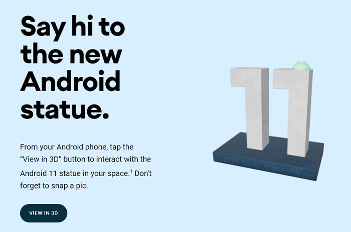 谷歌已经为Android 11创造了新的3 DAR雕像