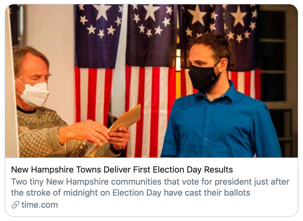 新罕布什尔州小镇率先公布当地投票结果。/《时代》杂志报道截图