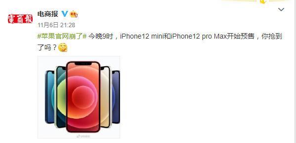 iPhone 12系列另外两款新机开启预售 苹果官网崩了_零售_电商报