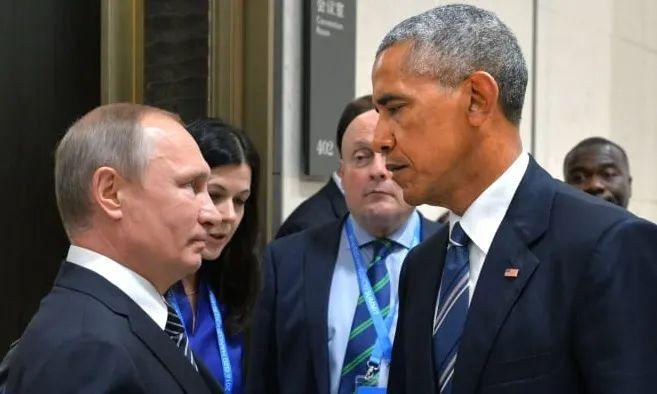 """2016年奥巴马和普京会晤,被媒体称为""""死亡对视""""的场面。"""