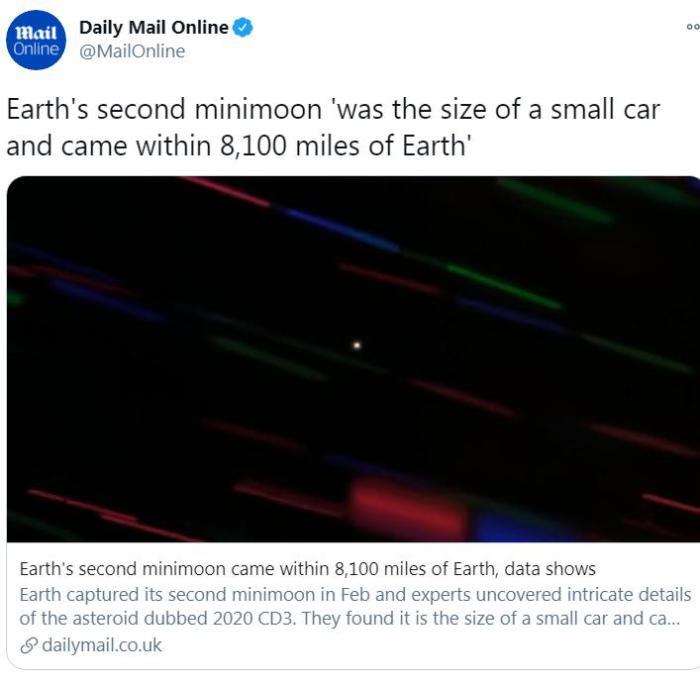 """科学家证实发现第2颗""""迷你月球"""":像小汽车那样的大小"""