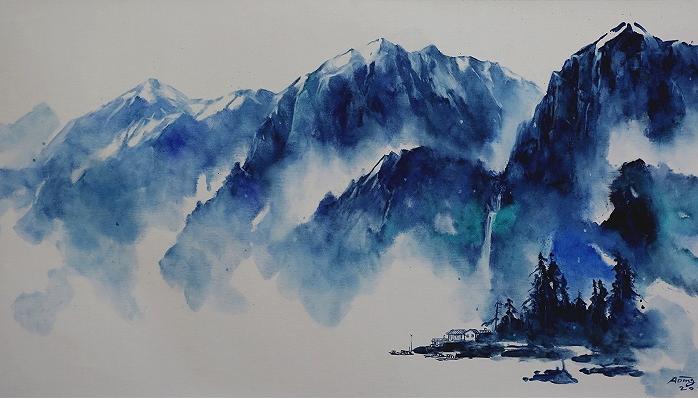 """寻找新而不求差异""""艺术家阿丁作品展""""流动的蓝与白""""开幕"""