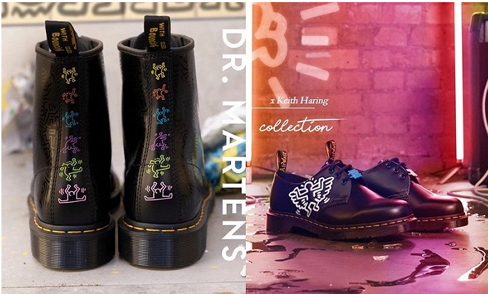 马滕斯博士和艺术家凯思·哈林一起画马丁靴子