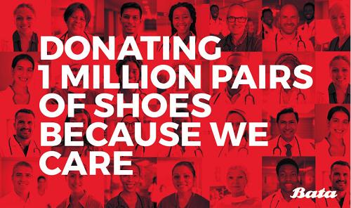 Bata捐赠100万双鞋,和全球医护、志愿者及其家人一起共同抗疫